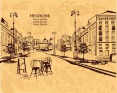 手绘街角的咖啡厅插画