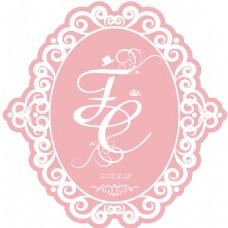 粉色欧式花纹婚礼水牌