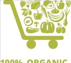 购物车 超市 绿色 水果 蔬菜