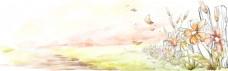 小清新花朵banner背景
