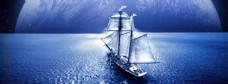 蓝色大海帆船banner背景