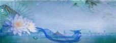 紫色花朵banner背景