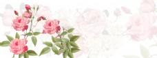 粉色花朵banner背景素材