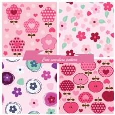 粉色花朵可爱填充图案矢量背景素材