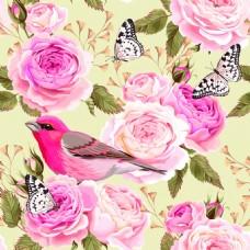 复古花鸟传统纹理图案矢量背景