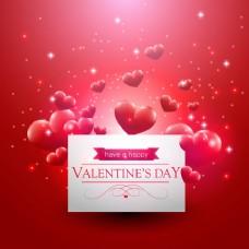 红色爱心卡片背景图