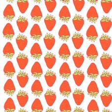 卡通橙色草莓水果无缝拼接图案矢量背景