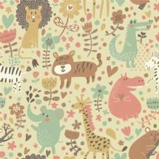 彩色手绘动物无缝背景图