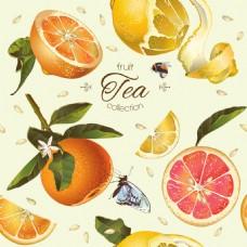 夏日水果橙子柠檬蜂蜜矢量背景素材