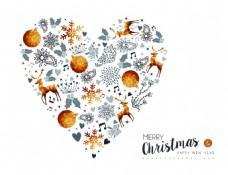 爱心型金色圣诞节新年装饰背景矢量素材