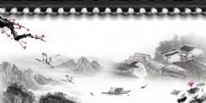 古风梅花桥鹤主题背景素材