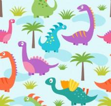 可爱恐龙和植物无缝背景矢量