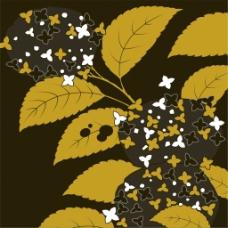 黄色蝴蝶花朵树枝背景图