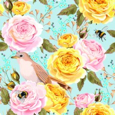 花鸟传统纹理图案矢量背景