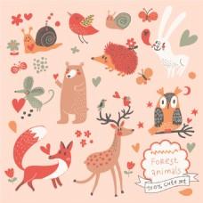 手绘彩色动物背景图