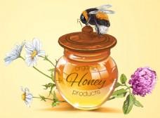 手绘一瓶蜂蜜矢量背景素材