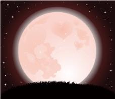 梦幻粉色渐变月球背景