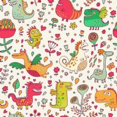 小恐龙可爱动物图案矢量素材