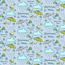 彩绘雨云和雨伞无缝背景矢量