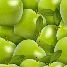 青苹果无缝背景矢量素材