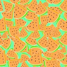 橙色西瓜水果无缝拼接图案矢量背景