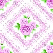 粉色蕾丝边玫瑰花蕾丝矢量背景