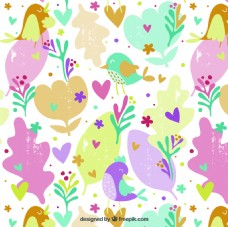 花朵小鸟爱心可爱卡通填充图案矢量