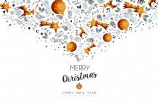 金色圣诞节文字喷射装饰背景矢量素材