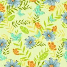手绘花朵绿色背景矢量素材