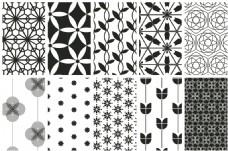 简约黑白花朵无缝背景图案