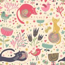 卡通猫咪可爱动物图案矢量素材