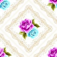 粉色蓝色花朵复古拼接玫瑰花蕾丝矢量背景