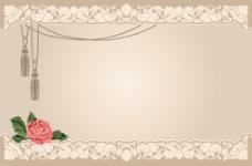 简约香槟色花纹边框背景