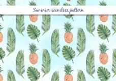 夏日植物叶子菠萝图案背景