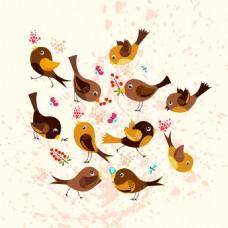 粉色底纹卡通小鸟矢量背景素材