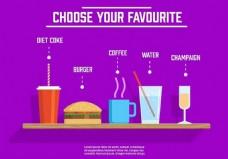 不同的免费矢量饮料和食物