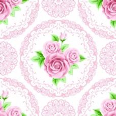复古拼接玫瑰花蕾丝矢量背景
