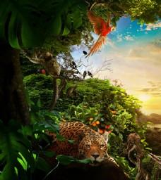 梦幻绿色森林老虎背景