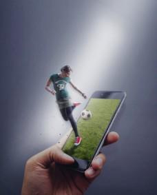 在手机上踢球的女孩PSD文件唯艺设计