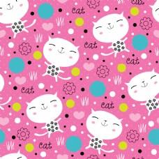 粉色可爱猫咪动物图案矢量素材