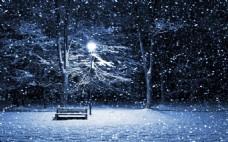 浪漫月光雪花街景背景