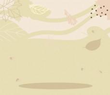 手绘微风树叶背景
