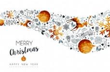 波浪形圣诞节装饰海报设计素材