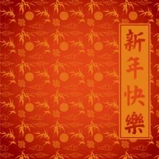 竹子圆圈组合新年红色矢量背景底纹