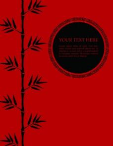 竹子和圆月中国风红色矢量背景底纹