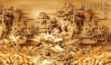 彩雕背景墙 富贵牡丹