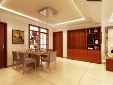 新中式简洁餐厅效果图