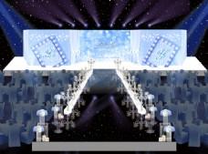 天蓝色素雅婚礼舞台婚礼效果图