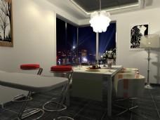 现代餐厅家装夜晚效果图