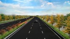双向6车道道路效果图园林绿化效果图